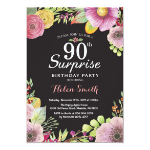 Surprise Floral 90th Birthday Invitation For Women