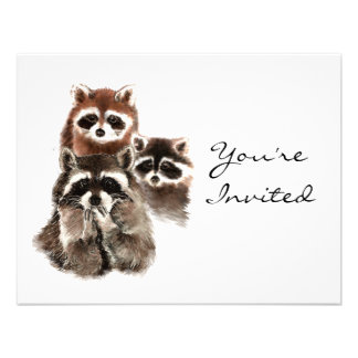 Surprise Fun  Raccoons Animal Birthday Invite