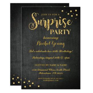 Surprise Gold Glitter Birthday Chalk Invitation
