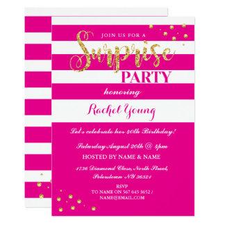 Surprise Gold Glitter Birthday Pink Stripe Invite