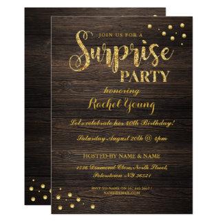 Surprise Gold Glitter Wood Birthday Invitation