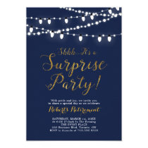 Surprise Gold Retirement Party Invitation Cards