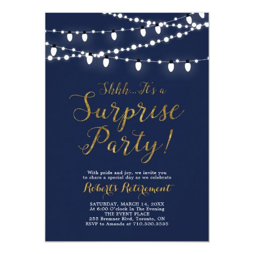 Surprise Gold Retirement Party Invitation Cards
