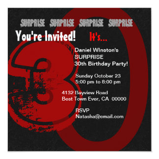 SURPRISE Grunge 30th Birthday Red and Black W204 Card