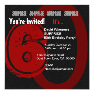 SURPRISE Grunge 60th Birthday Red and Black W204 Card
