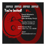 """SURPRISE Grunge 60th Birthday Red and Black W204 5.25"""" Square Invitation Card"""