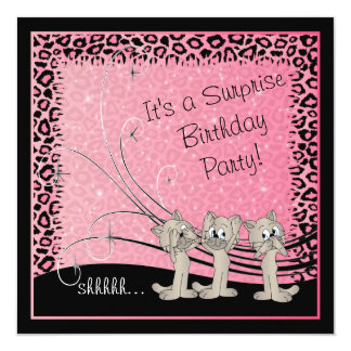 Surprise Kid's Birthday Party Kittens Card