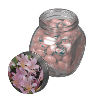 Surprise Lilies After the Rain Glass Candy Jar