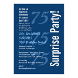 """SURPRISE Modern 75th Birthday Navy Blue and White 5"""" X 7"""" Invitation Card"""