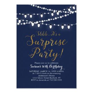 Surprise Navy & Gold 60th Birthday Invitation