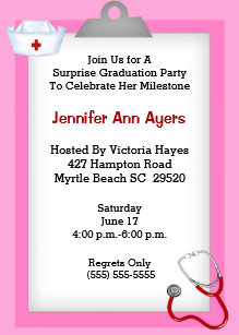 Surprise 5x7 graduation invitations zazzle surprise nurse graduation party invitation filmwisefo