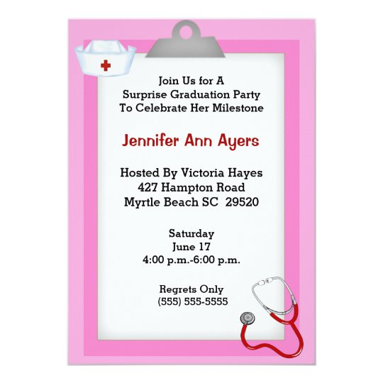 Surprise Nurse Graduation Party Invitation Zazzlecom