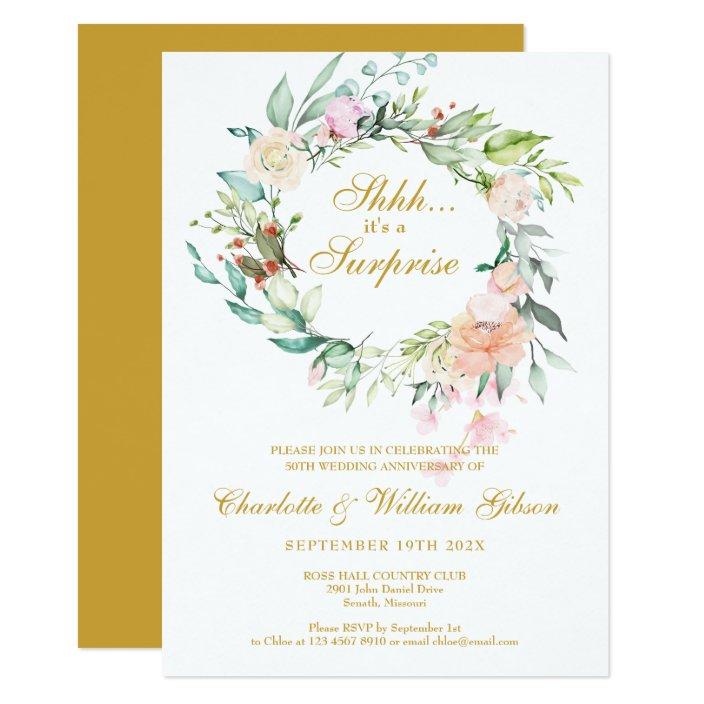Surprise Party 50th Wedding Anniversary Floral Invitation Zazzle Com