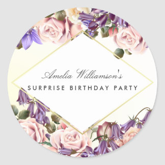 Surprise Party | Beautiful Bluebells and Roses Classic Round Sticker