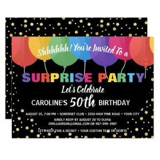 Surprise Party Birthday Invitation Fun Balloons