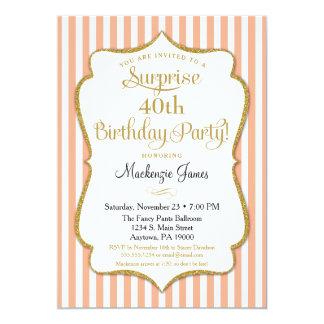 Surprise Party Birthday Invitation Peach Elegant