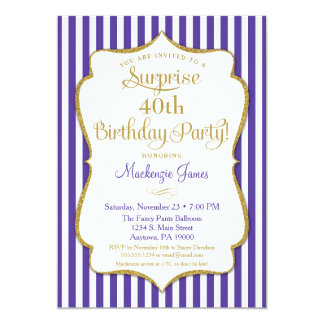 Surprise Party Birthday Purple Gold Elegant Card