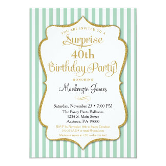 Surprise Party Birthday Seafoam Mint Green Gold Card