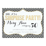 "Surprise Party Black and Gold Chevron 5"" X 7"" Invitation Card"