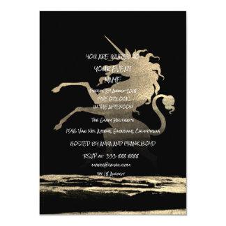 Surprise  Party Black Golden Brushes Unicorn Card