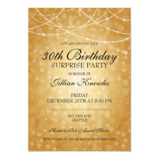 Surprise Party Brass String Lights Bokeh Card
