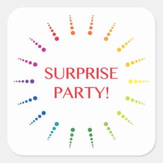 surprise party burst invitations square sticker