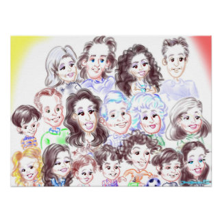 Surprise Party Caricatures Poster 13a