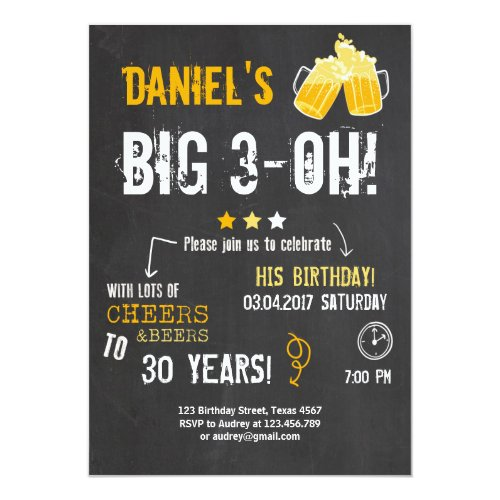 Surprise Party Cheers and beers birthday 30th Men Invitation