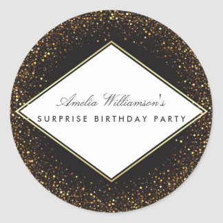 Surprise Party | Classy Gold Confetti & Typography Classic Round Sticker