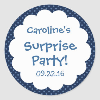 Surprise Party Cute Polka Dot Custom Name Favor Classic Round Sticker