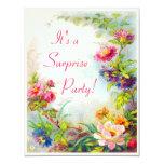 "Surprise Party Dahlias Peonies Victorian Garden 4.25"" X 5.5"" Invitation Card"