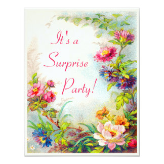 Surprise Party Dahlias Peonies Victorian Garden 4.25x5.5 Paper Invitation Card