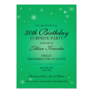 Surprise Party Elegant Green Sparkling Orbs Stars Card