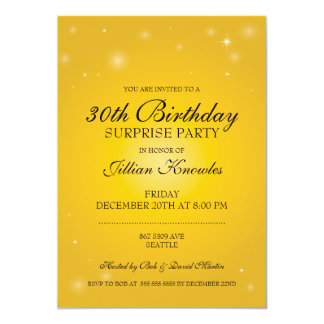Surprise Party Elegant Yellow Orbs Stars Card