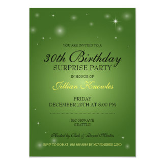 Surprise Party Emerald Green Orbs Stars Card