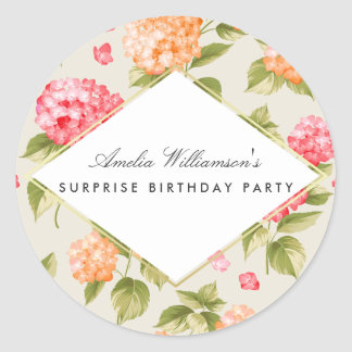 Surprise Party for Her | Hydrangea Blossom Classic Round Sticker