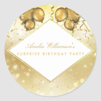 Surprise Party | Glam Gold Balloons & Confetti Classic Round Sticker