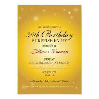 Surprise Party Gold Elegance Orbs Stars Card