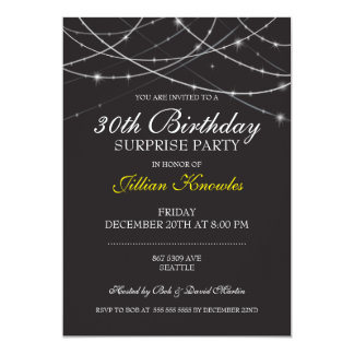 Surprise Party Gothic Black White String Lights Card