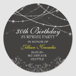Surprise Party Gothic Black White String Lights Classic Round Sticker