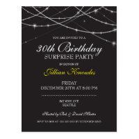 Surprise Party Gothic Black White String Lights Postcard