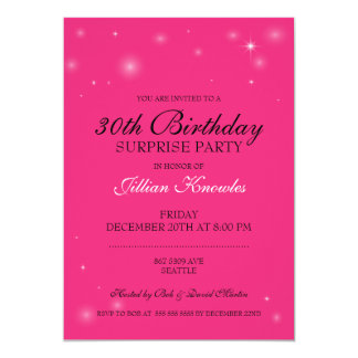 Surprise Party Hot Pink Orbs Stars Card