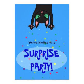 """Surprise Party Invitation black cat confetti 5"""" X 7"""" Invitation Card"""