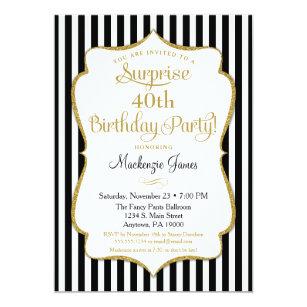 Surprise Party Invitation Black Gold Elegant Adult