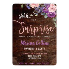 Surprise Party invitation, floral string lights 60 Invitation