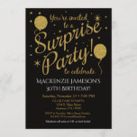 """Surprise Party Invitation Gold Balloon Birthday<br><div class=""""desc"""">This fun surprise party invitation features black background with faux gold glitter balloons and stars. It has elegant and whimsical flair with a stylish edge. You guest of honor love the surprise birthday party invitation you picked out to celebrate their fabulous birthday. Great for 21st 30th 35th 40th 45th 50th...</div>"""