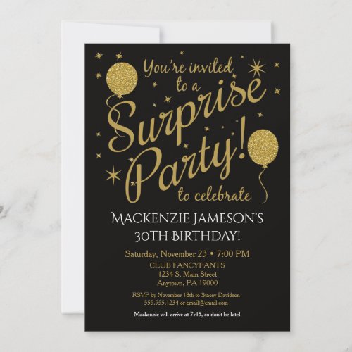Surprise Party Invitation Gold Balloon Birthday