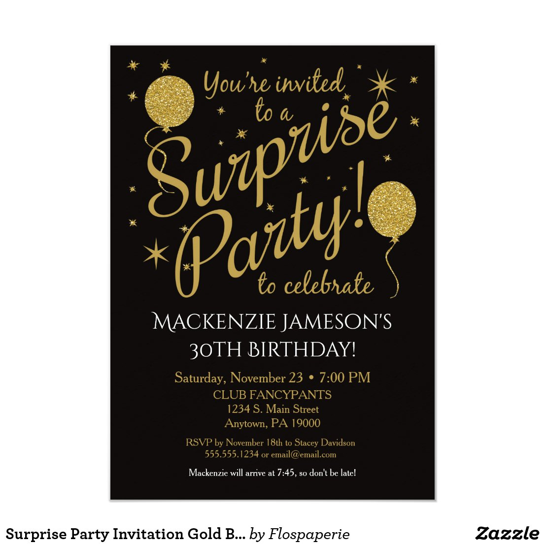 Surprise Party Invitation Gold Balloon Birthday