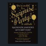 "Surprise Party Invitation Gold Balloon Birthday<br><div class=""desc"">This fun surprise party invitation features black background with faux gold glitter balloons and stars. It has elegant and whimsical flair with a stylish edge. You guest of honor love the surprise birthday party invitation you picked out to celebrate their fabulous birthday. Great for 21st 30th 35th 40th 45th 50th...</div>"