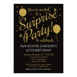 Surprise birthday invitations announcements zazzle surprise party invitation gold balloon birthday filmwisefo Image collections